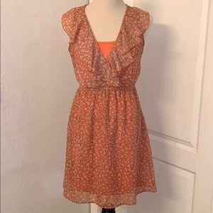 Floral Coral Dress, Size Medium 🌼